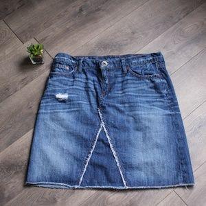 Banana Republic Distressed Frayed Denim Skirt Jean